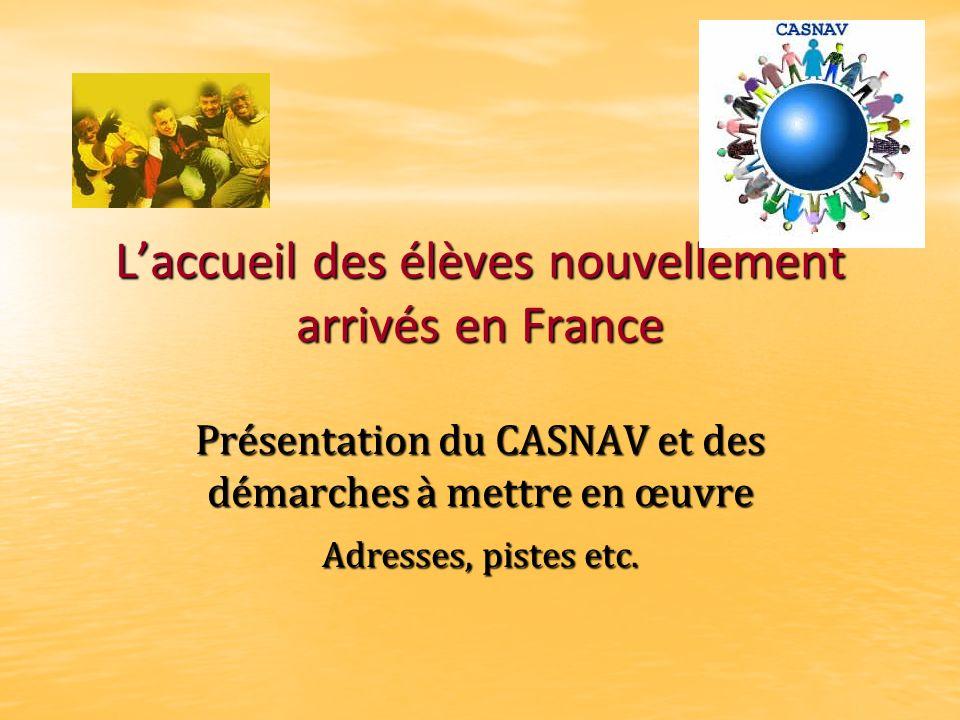 L'accueil des élèves nouvellement arrivés en France