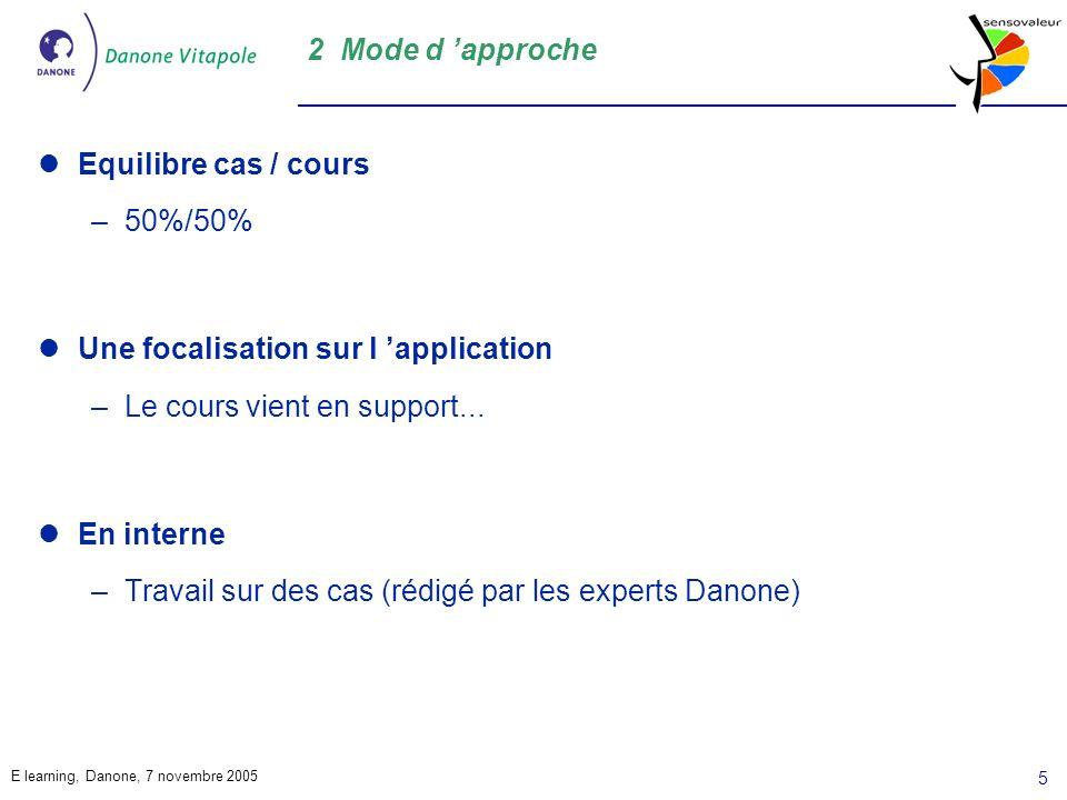 2 Mode d 'approche Equilibre cas / cours. 50%/50% Une focalisation sur l 'application. Le cours vient en support...