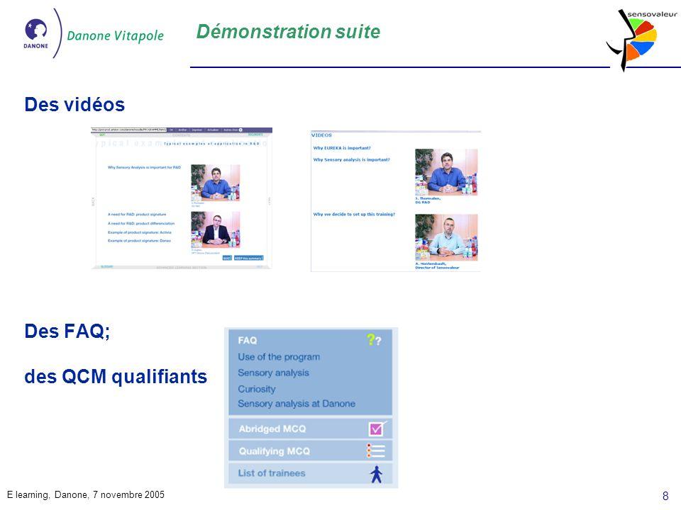 Démonstration suite Des vidéos Des FAQ; des QCM qualifiants