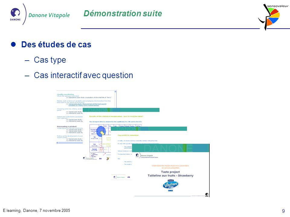 Démonstration suite Des études de cas Cas type Cas interactif avec question