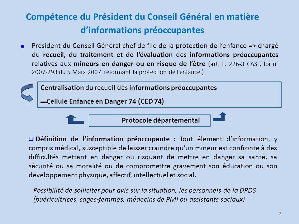 Compétence du Président du Conseil Général en matière d'informations préoccupantes