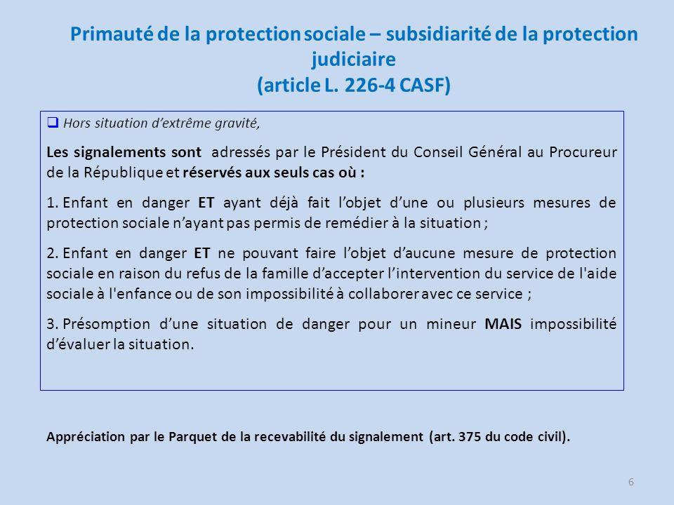 Primauté de la protection sociale – subsidiarité de la protection judiciaire (article L. 226-4 CASF)