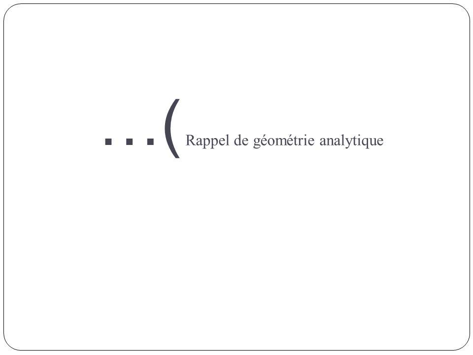 …( Rappel de géométrie analytique