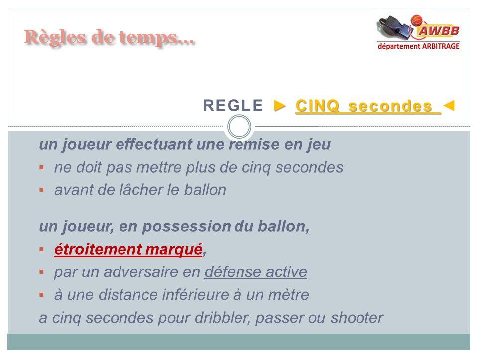 Règles de temps… REGLE ► CINQ secondes ◄
