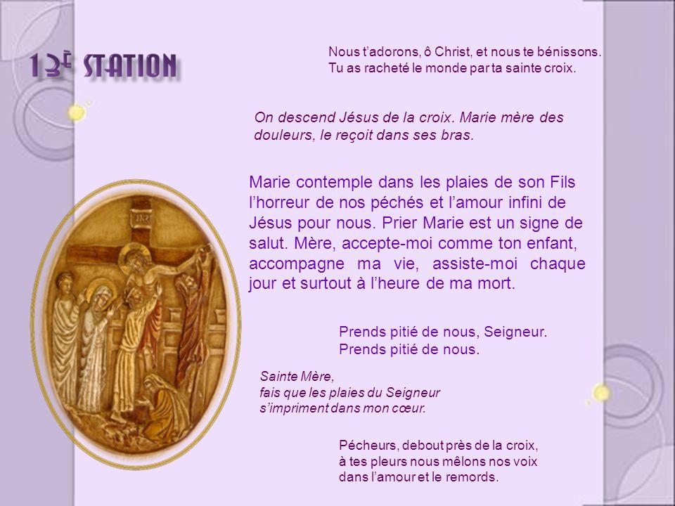 Marie contemple dans les plaies de son Fils