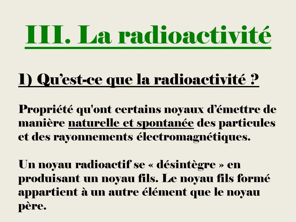 III. La radioactivité