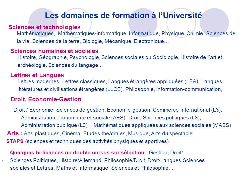 Les domaines de formation à l'Université