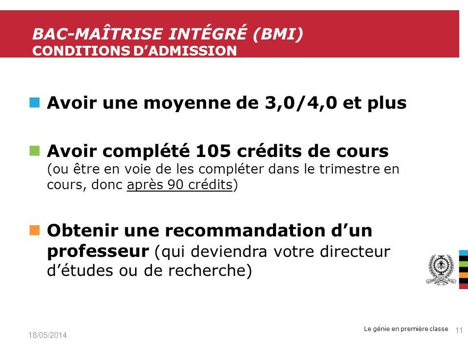 BAC-maîtrise intégré (bMi) Conditions d'admission
