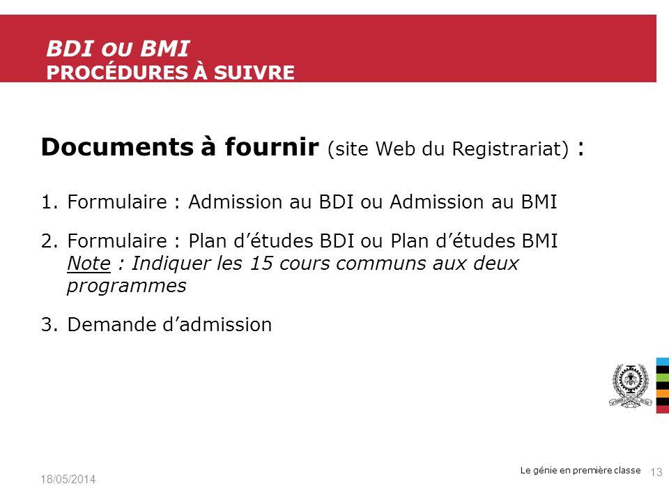 BDI ou bMi Procédures à suivre