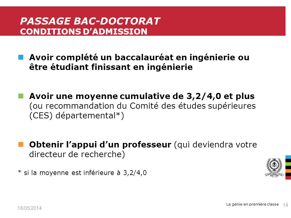 Passage Bac-Doctorat Conditions d'admission