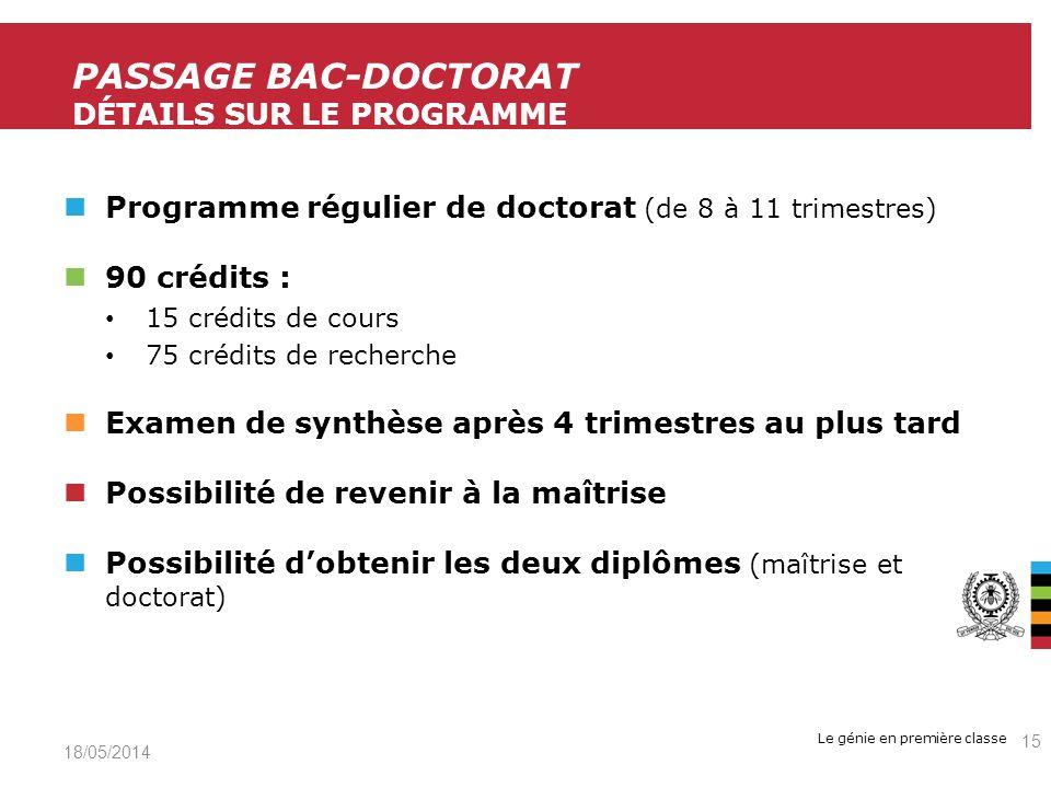 Passage Bac-Doctorat Détails sur le programme