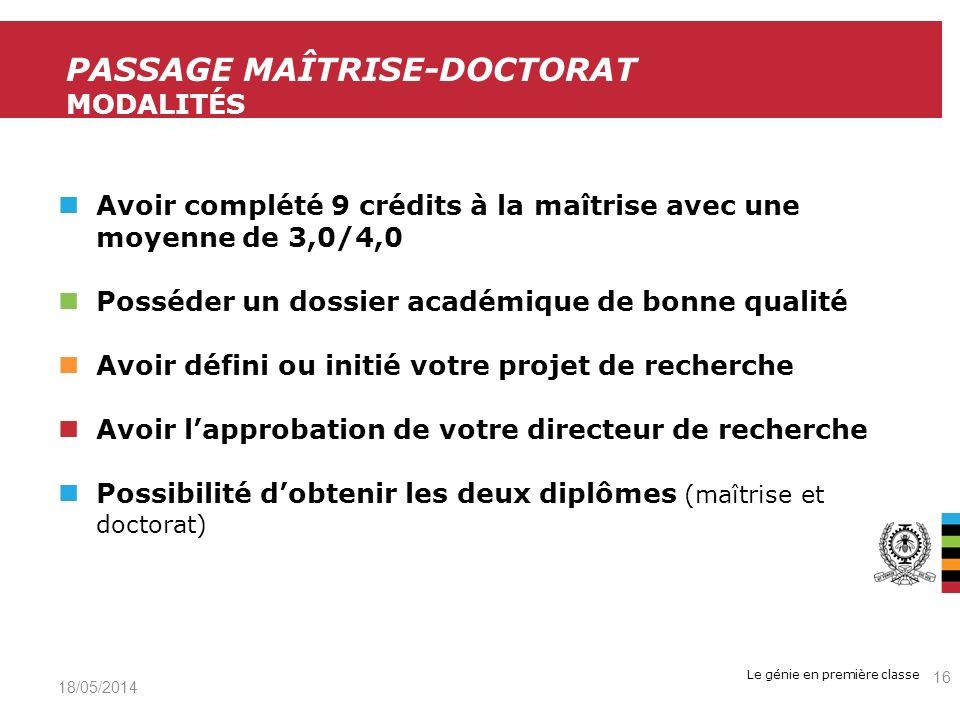 Passage maîtrise-Doctorat Modalités