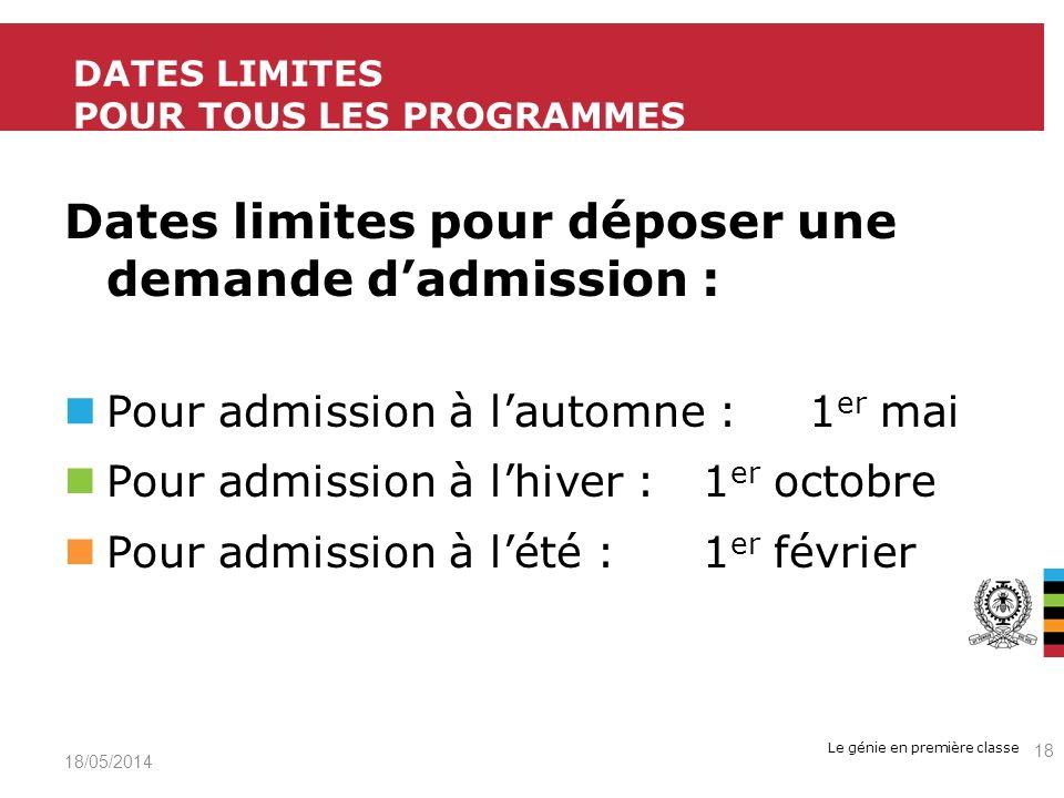 Dates limites Pour tous les programmes