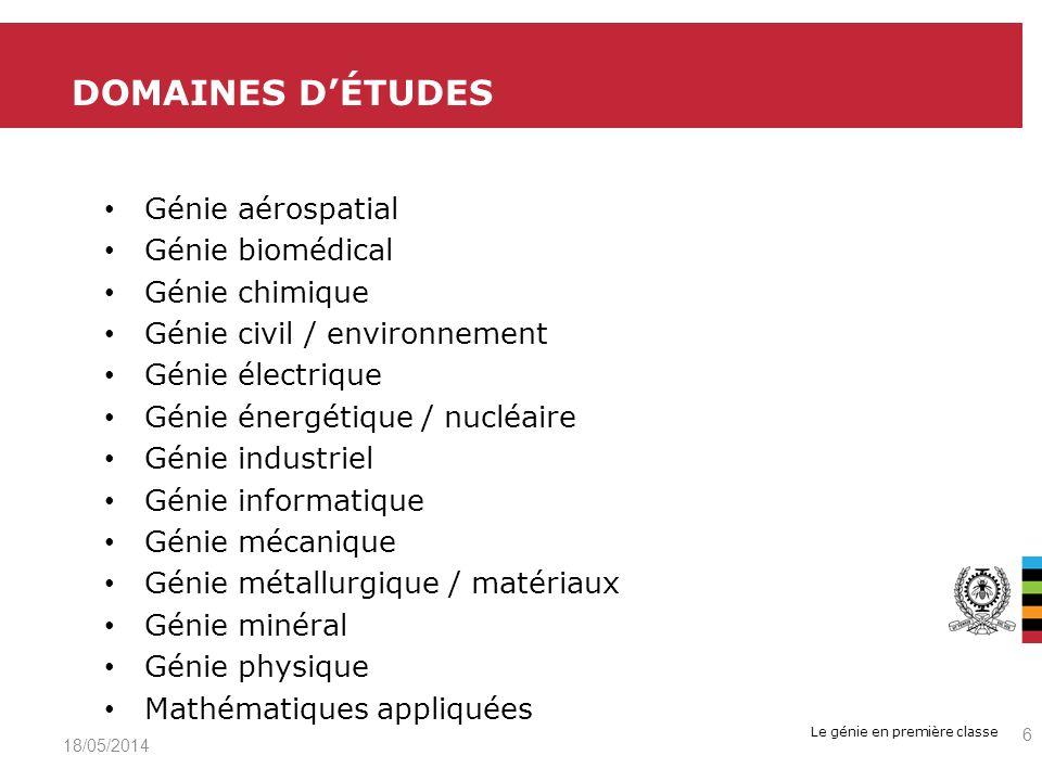 DOMAINES D'ÉTUDES Génie aérospatial Génie biomédical Génie chimique