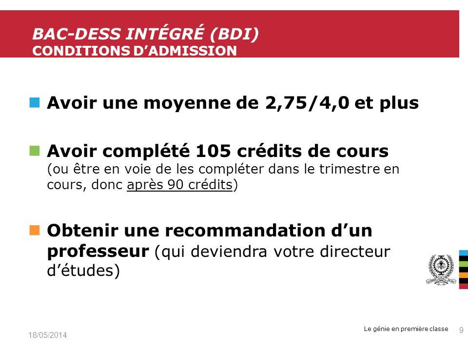 BAC-DESS intégré (bdi) Conditions d'admission