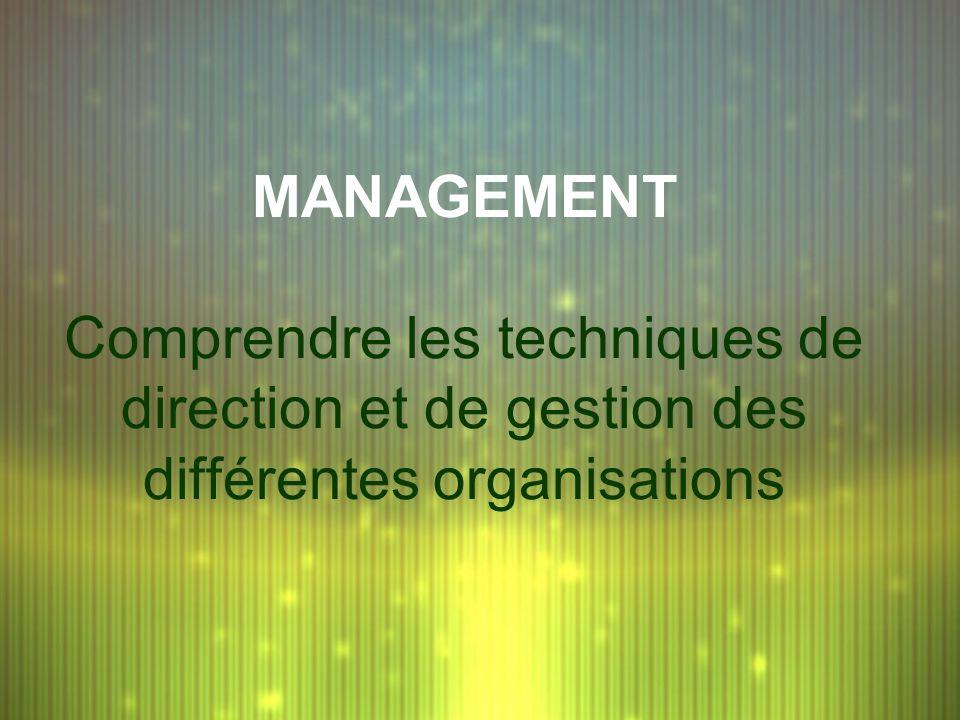 MANAGEMENT Comprendre les techniques de direction et de gestion des différentes organisations