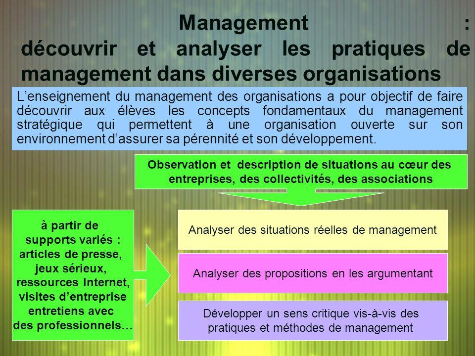 Management : découvrir et analyser les pratiques de management dans diverses organisations
