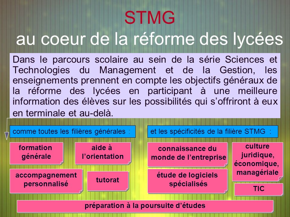 STMG au coeur de la réforme des lycées