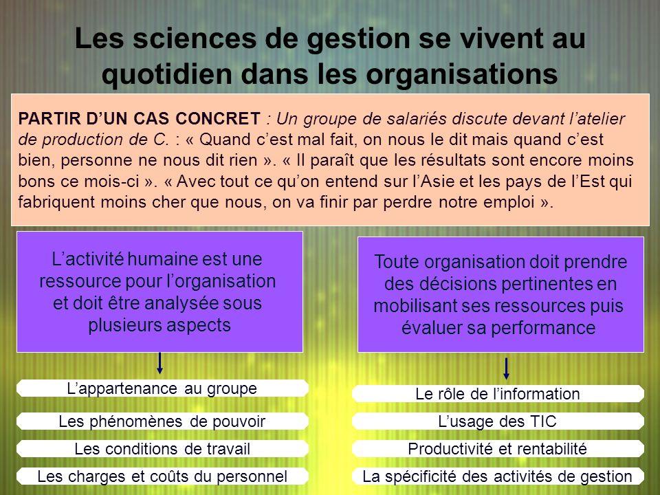 Les sciences de gestion se vivent au quotidien dans les organisations