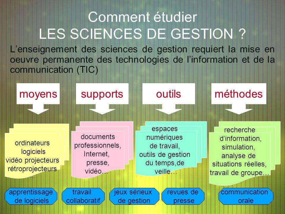 Comment étudier LES SCIENCES DE GESTION