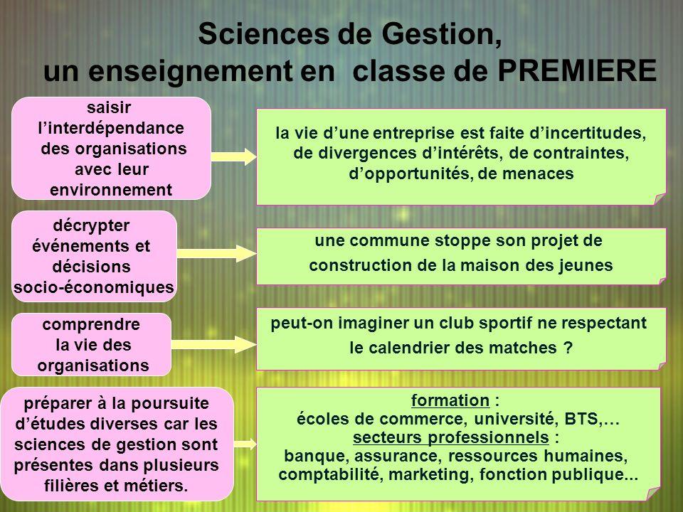 Sciences de Gestion, un enseignement en classe de PREMIERE