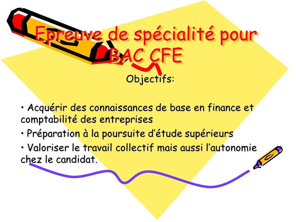 Epreuve de spécialité pour BAC CFE