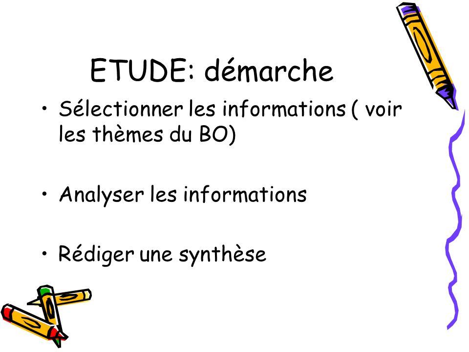 ETUDE: démarche Sélectionner les informations ( voir les thèmes du BO)