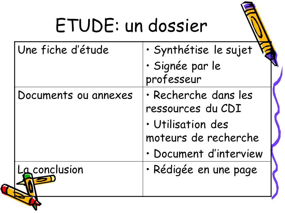 ETUDE: un dossier Une fiche d'étude Synthétise le sujet