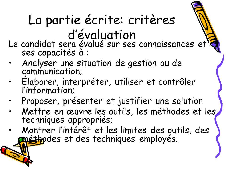 La partie écrite: critères d'évaluation