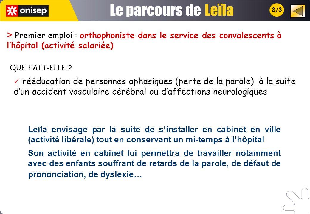 Le parcours de Leïla. 3/3. > Premier emploi : orthophoniste dans le service des convalescents à l'hôpital (activité salariée)