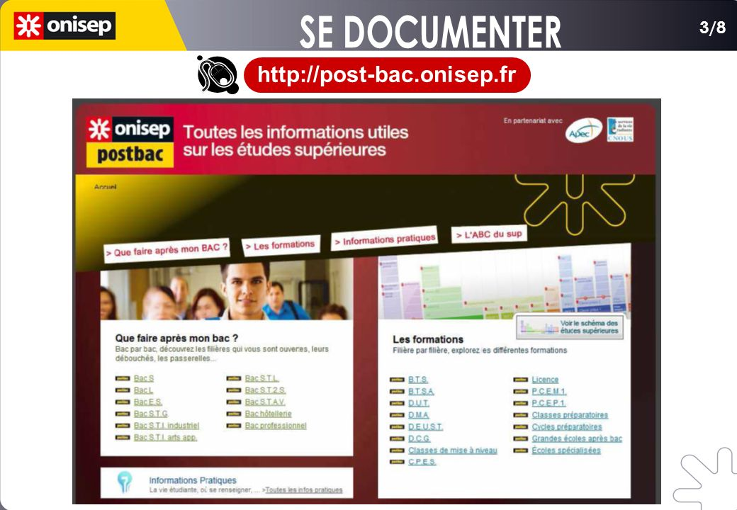 SE DOCUMENTER 3/8 http://post-bac.onisep.fr