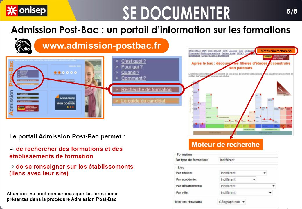 SE DOCUMENTER 5/8. Admission Post-Bac : un portail d'information sur les formations. www.admission-postbac.fr.