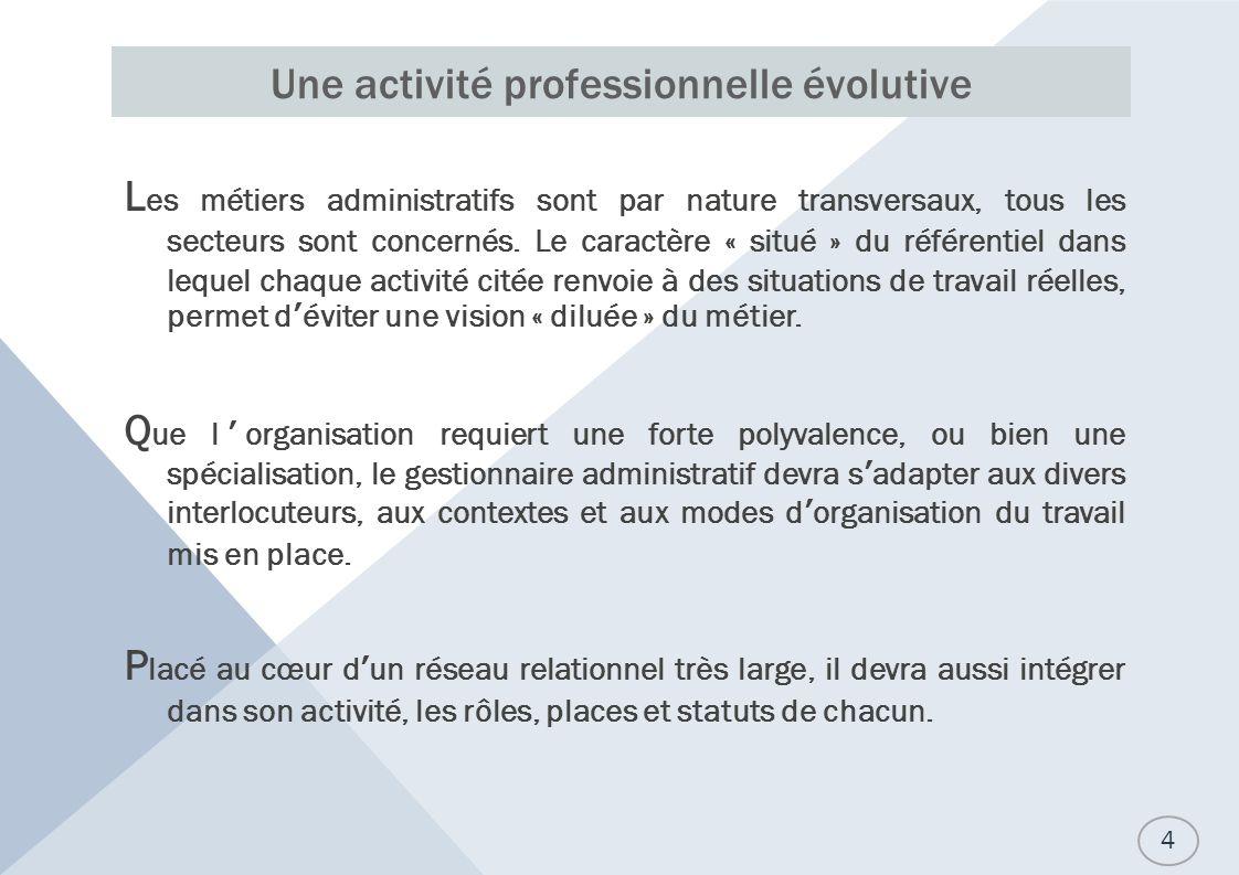Une activité professionnelle évolutive