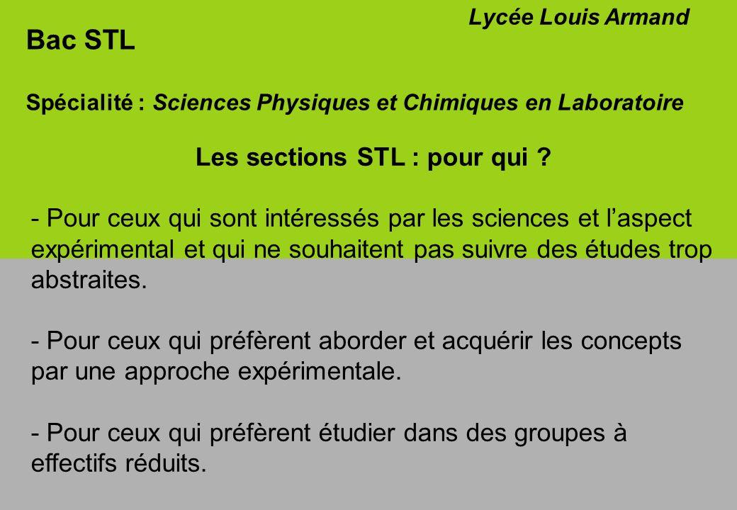 Les sections STL : pour qui
