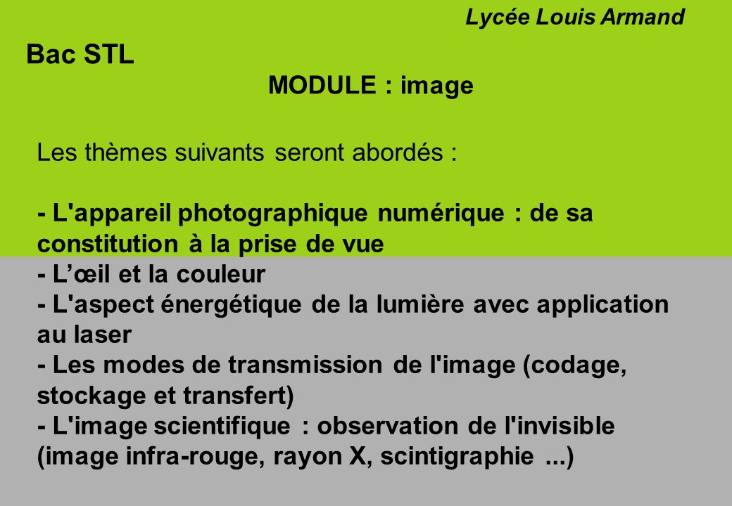 Bac STL MODULE : image Les thèmes suivants seront abordés :