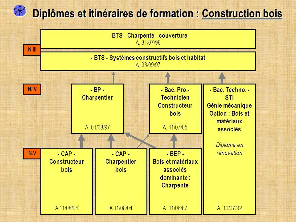 Diplômes et itinéraires de formation : Construction bois