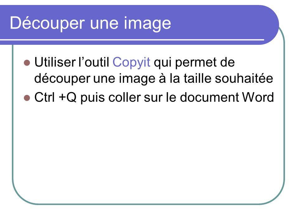 Découper une image Utiliser l'outil Copyit qui permet de découper une image à la taille souhaitée.