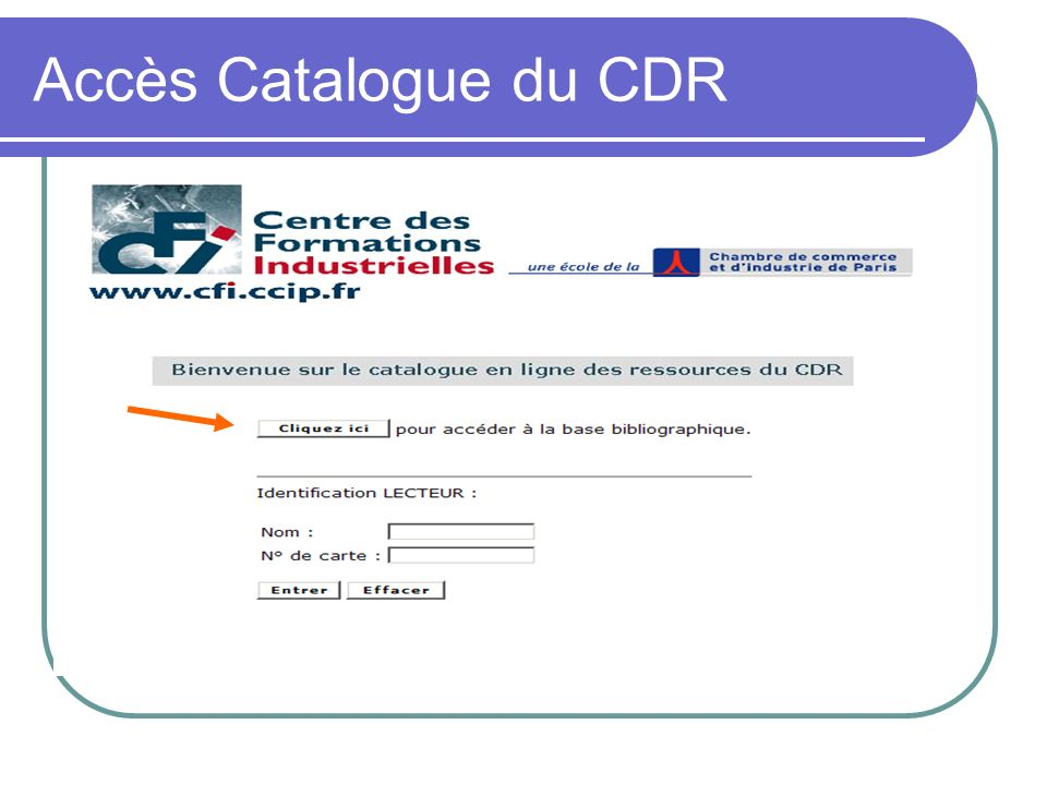 Accès Catalogue du CDR