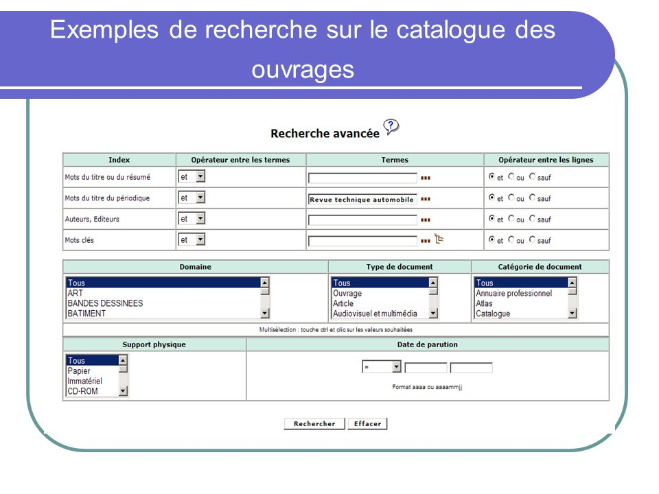 Exemples de recherche sur le catalogue des ouvrages