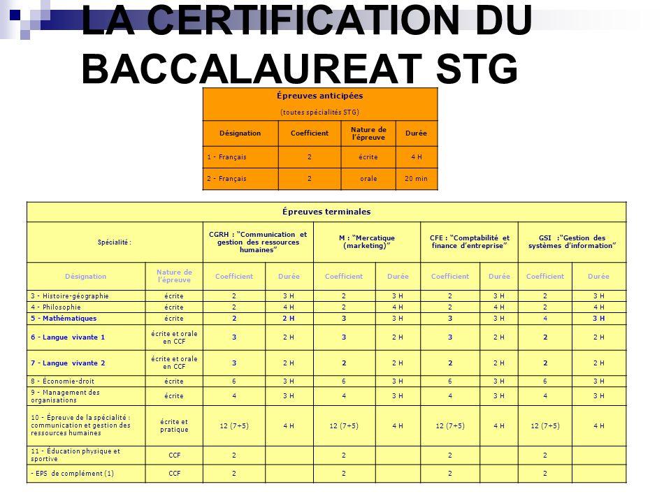 LA CERTIFICATION DU BACCALAUREAT STG