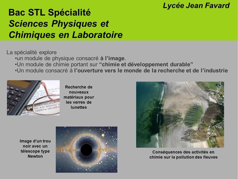 Bac STL Spécialité Sciences Physiques et Chimiques en Laboratoire