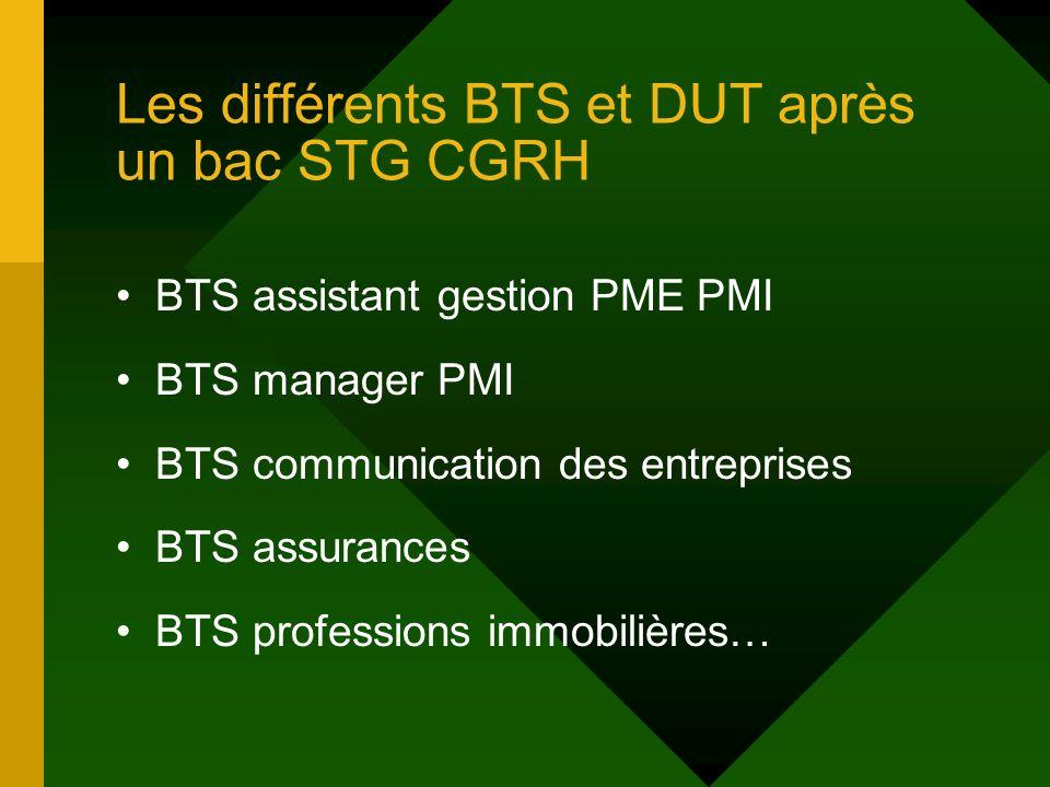 Les différents BTS et DUT après un bac STG CGRH