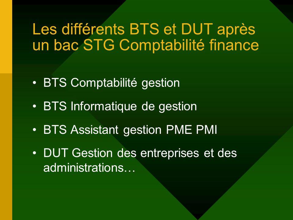 Les différents BTS et DUT après un bac STG Comptabilité finance