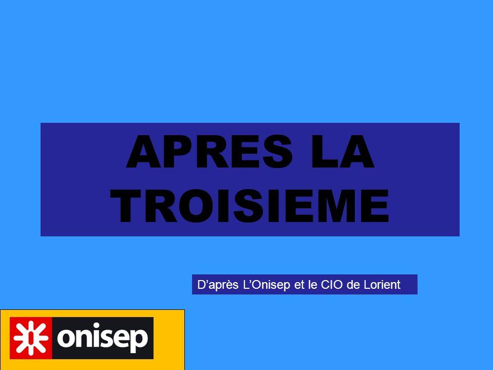 APRES LA TROISIEME D'après L'Onisep et le CIO de Lorient