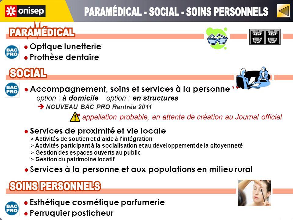 PARAMÉDICAL - SOCIAL - SOINS PERSONNELS