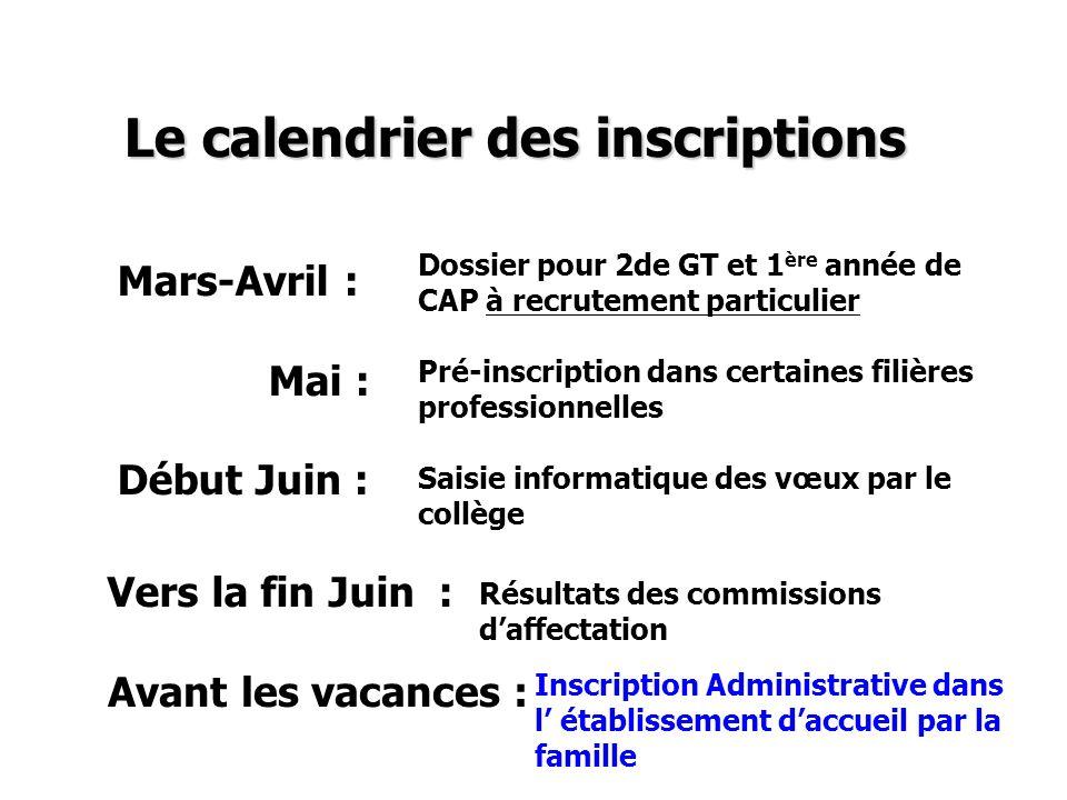 Le calendrier des inscriptions