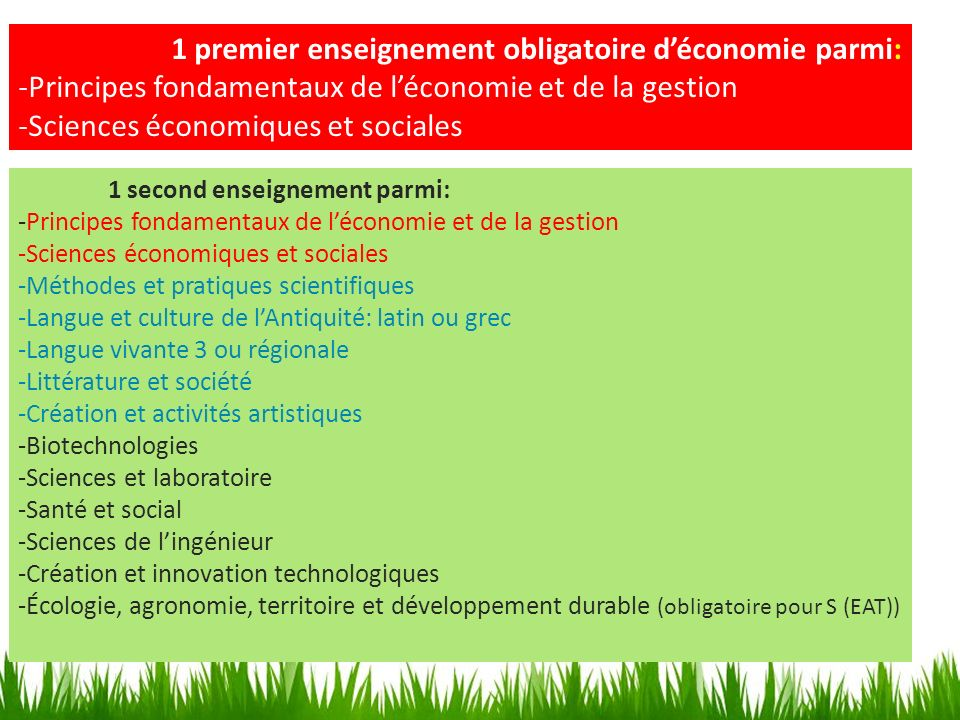 1 premier enseignement obligatoire d'économie parmi: