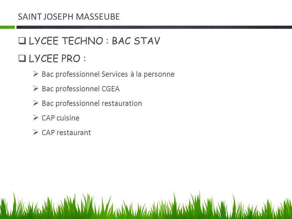 SAINT JOSEPH MASSEUBE LYCEE TECHNO : BAC STAV LYCEE PRO :