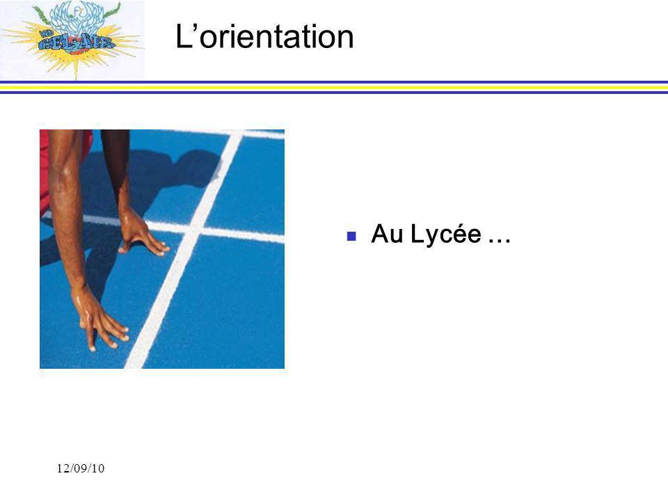 L'orientation Au Lycée … 12/09/10 1