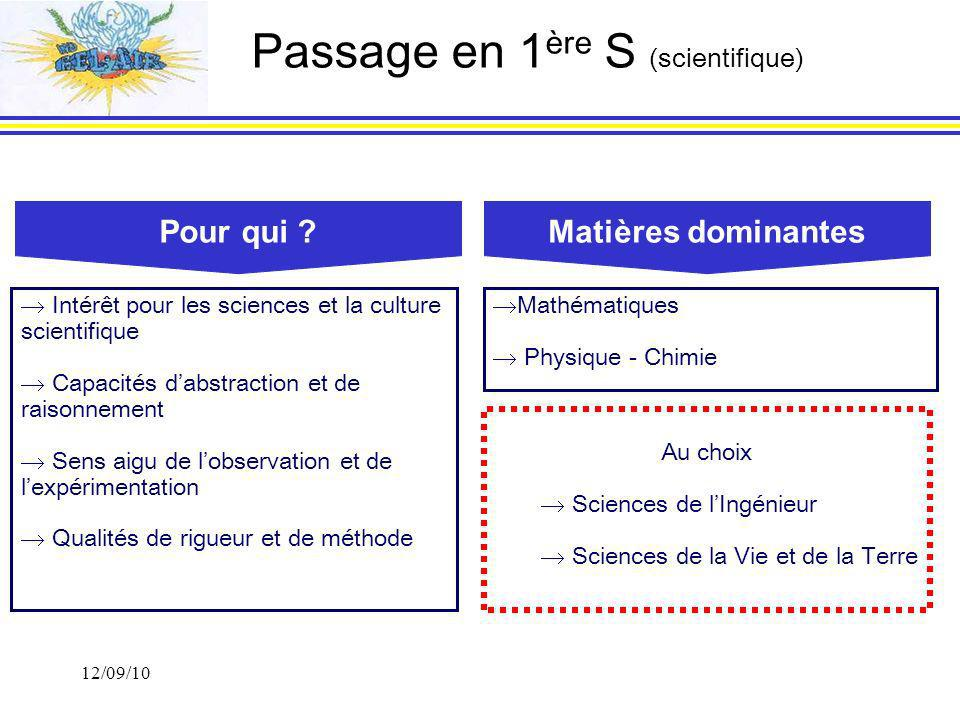 Passage en 1ère S (scientifique)